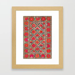 Kermina Suzani Uzbekistan Colorful Embroidery Print Framed Art Print