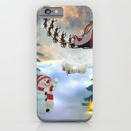 Christmas, snowman with Santa Claus iPhone Case