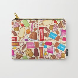sweets seamless pattern (lollipop, candy cane, pudding in dish, birthday cake with candles) Carry-All Pouch