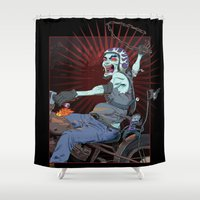 pirate ship Shower Curtains featuring The Same Pirate, Different Ship by MenoTonik