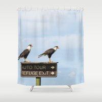 cara Shower Curtains featuring Crested Cara Cara Hawks by The Blessed Olive Branch