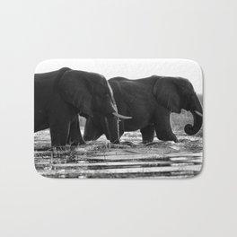 Elephants (Black and White) Bath Mat