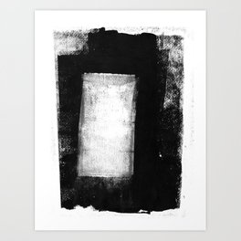 White Rectangle - Black and White Minimalist Abstract Painting Art Print