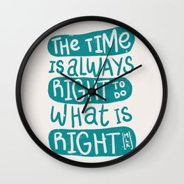 Equality - Aqua Typography Wall Clock