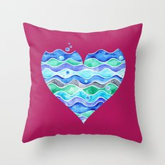 A Sea of Love (purple) Throw Pillow