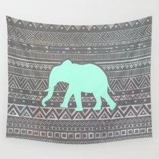 Mint Elephant  Wall Tapestry