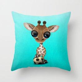 Cute Baby Giraffe With Football Soccer Ball Throw Pillow