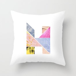 Collaged Tangram Alphabet - H Throw Pillow