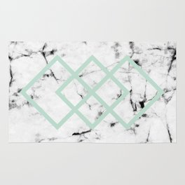 White Marble Concrete Look Mint Green Geometric Squares Rug