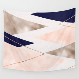 Rose gold french navy geometric Wall Tapestry