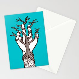 Bare tree growing within a hand – interlacing of nature and humanity Stationery Cards