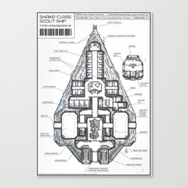Shrike-class Scout Ship (Whiteprint) Canvas Print