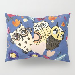 3 Wise Owls in Flower Garden at Night Pillow Sham