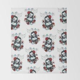 Vampire Vixen with Roses Throw Blanket