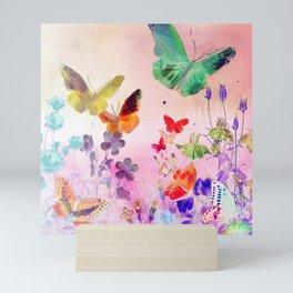 Blush Butterflies & Flowers Mini Art Print