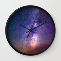 milky way Wall Clocks featuring Milky Way by Lotus Effects