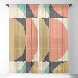 Mid Century Modern Geometric Abstract 235 Sheer Curtain