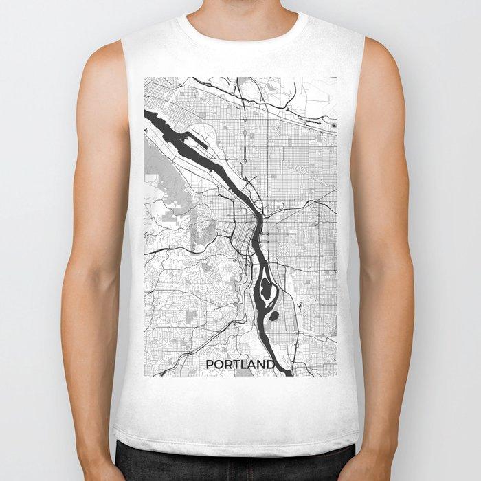 Portland Map Gray Biker Tank