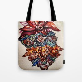 Three Eyed Flower Faced Watercolor Painting. Tote Bag