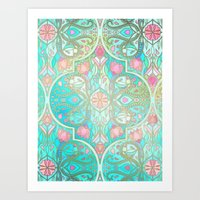 morrocan Art Prints featuring Floral Moroccan in Spring Pastels - Aqua, Pink, Mint & Peach by micklyn