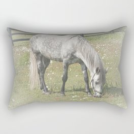 A White Horse in a pasture among Daisy Flowers Rectangular Pillow