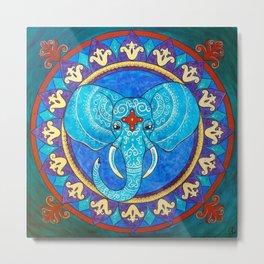 Wisdom - Elephant mandala Metal Print