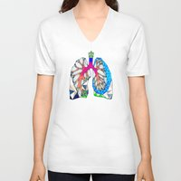 lungs V-neck T-shirts featuring Lungs by Heidi Failmezger