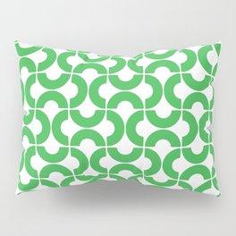 Green and White Mid-Century Modern Geometric Pattern Pillow Sham