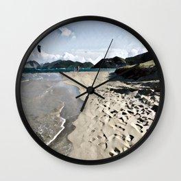Kite over the beach Wall Clock