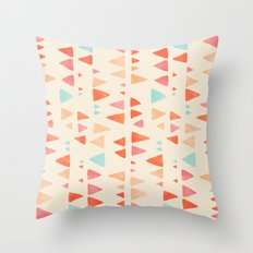 Back & Forth - triangle abstract pattern in peach, aqua & cream Throw Pillow