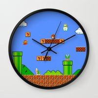 mario Wall Clocks featuring Mario by idaspark