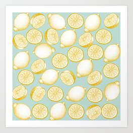 Lemons On Turquoise Background Art Print