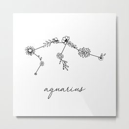 Aquarius Floral Zodiac Constellation Metal Print