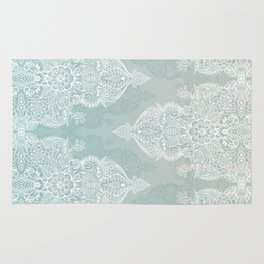 Lace & Shadows - soft sage grey & white Moroccan doodle Rug