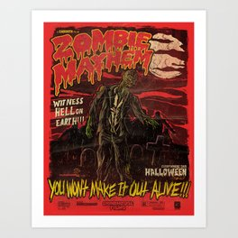 Zombie Mayhem! Art Print