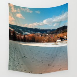 Winter wonderland and village skyline | landscape photography Wall Tapestry