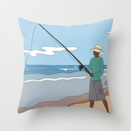 Beach Fishing#1 Throw Pillow