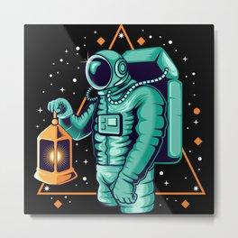 Astronaut grabbing lantern awesome cosmonaut gifts Metal Print