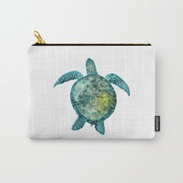 Watercolor Sea Turtle - Turquoise Carry-All Pouch