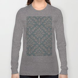 Damask Baroque Pattern Cream on Blue Long Sleeve T-shirt
