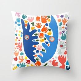 Two Blue Faces Abstract Joyful Pattern Art Decoration Emmanuel Signorino Throw Pillow