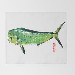 Dorado or Mahi Mahi, the Raging Bull Throw Blanket