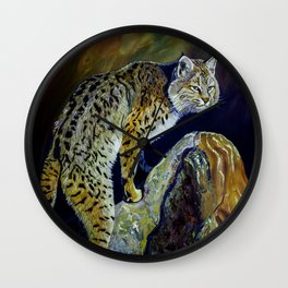 Bobcat  Painting  wildlife art  bold brushstrokes combined with vivid colours Alla Prima style favou Wall Clock