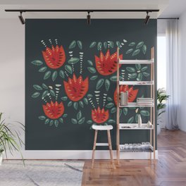 Abstract Red Tulip Floral Pattern Wall Mural