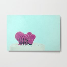 Vintage Pink Cactus on Blue Metal Print