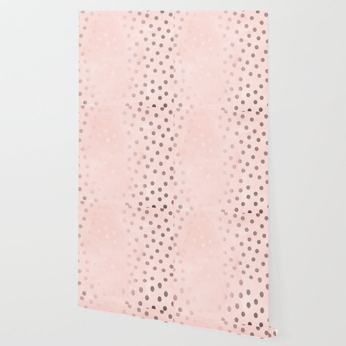 Rose Gold Pastel Pink Polka Dots Wallpaper