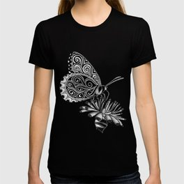 Tangled Butterfly on Black T-shirt