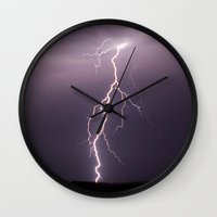 lightning Wall Clocks featuring Lightning by T M B