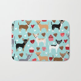 Chihuahua love hearts cupcakes valentines day gift for chiwawa lovers Bath Mat