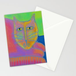 Colorful Abstract Cat Digital Painting  Stationery Cards